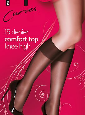 Pretty Polly Curves 15 den knee high 2PP EQX5