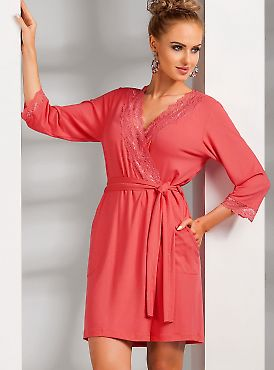 Donna Nadia dressing gown Coral