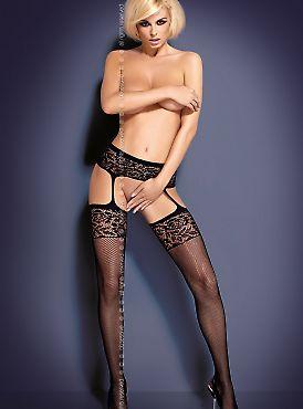 Obsessive S 500 garter stockings Black