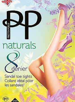Pretty Polly Naturals 8 Den Sandal Toe APA5