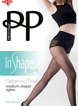 Pretty Polly Patterned Brief Medium Shaper Tights AVS9
