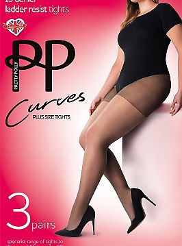 Pretty Polly Curves 15 den ladder resist 3PP GK30