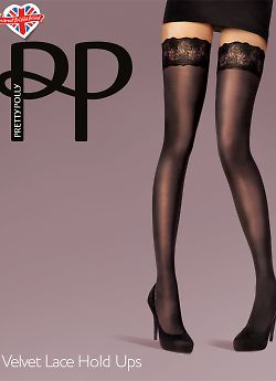 Pretty Polly Velvet Lace Hold Ups AUY8
