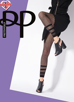 Pretty Polly Stripe Net Footless Tights AVQ3
