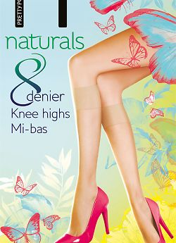 Pretty Polly Naturals 8 den knee highs 2PP EF24