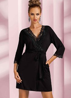 Donna Nadia dressing gown Black