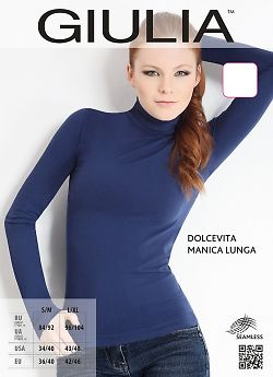 Эластичная бесшовная женская водолазка Giulia Dolcevita Manica Lunga