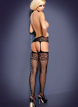 Obsessive S 500 garter stockings Black