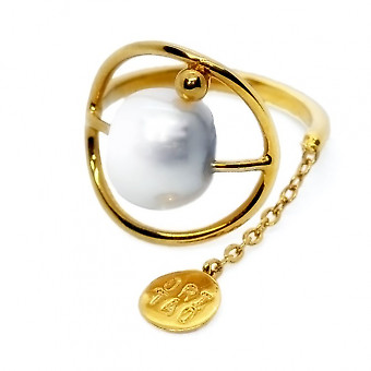 Кольцо ORI TAO Kosmos с вставкой из жемчуга