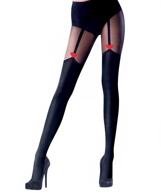 Pretty Polly Heart Mock Suspender Tights AUX2