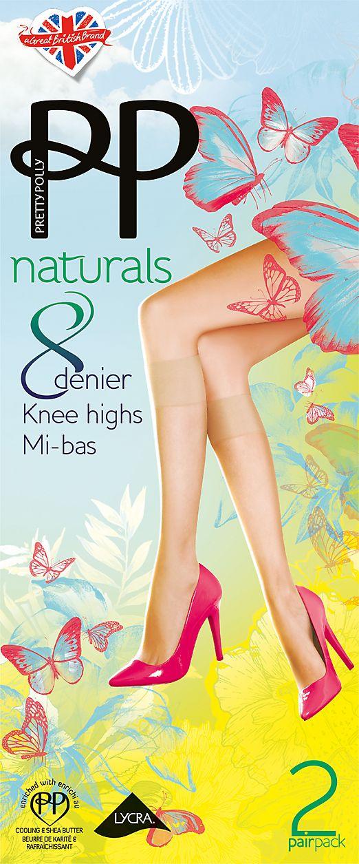 Pretty Polly Naturals 8 den knee highs 2PP EF24