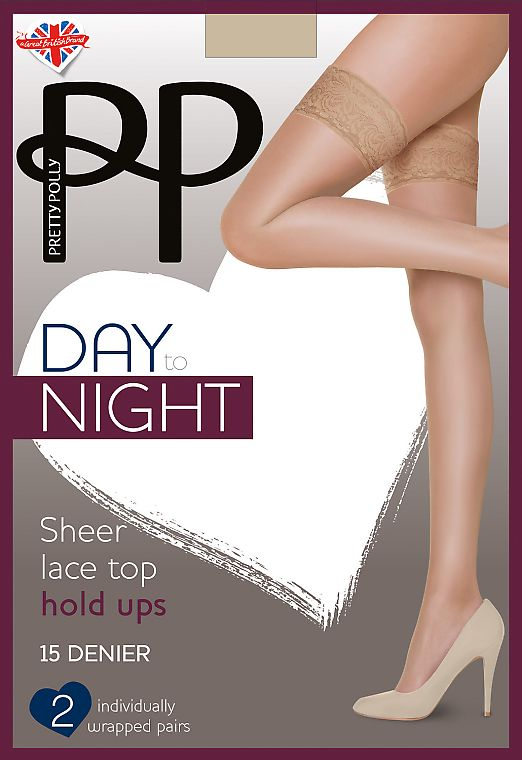 Pretty Polly Day to Night Sheer Lace top hold ups 15 den EVH3