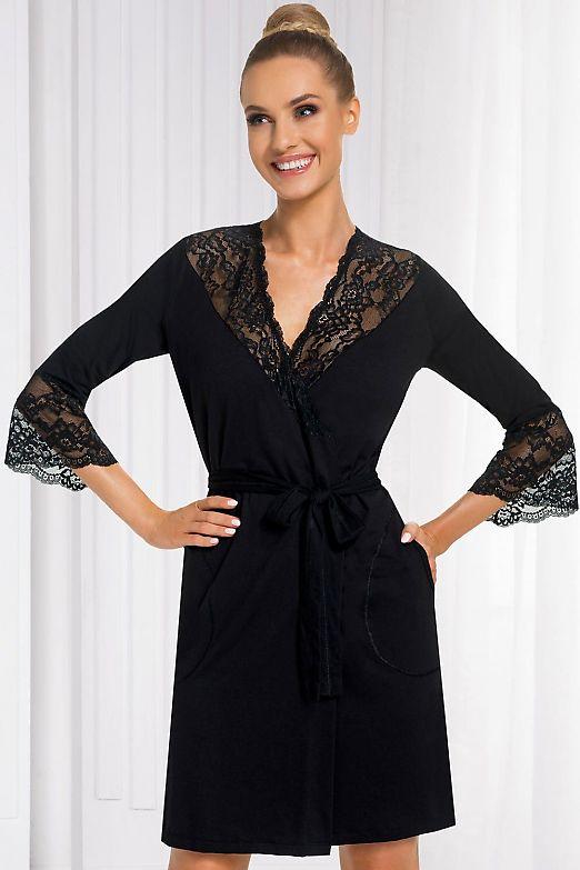 Donna Stella dressing gown Black